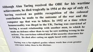the post hole figure 4 bletchley park s information board on the subject of alan turing s death by suicide