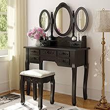 black makeup vanity with drawers. tribesigns wood makeup vanity table set with 3 mirror \u0026 stool bedroom dressing desk black drawers d