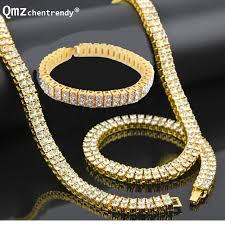 men hip hop gold silver bling 2 two rows rhinestone pharaoh jewelry sets miami cuban chain