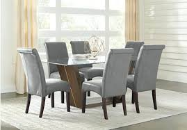 ambassador place espresso 5 rectangle dining room with glass top set 6 chairs