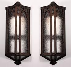 sold large pair of antique gothic revival exterior sconces cast iron c 1900