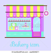 Bakery Facade View Bakehouse Icon Pastry Store Patisserie Candy