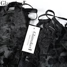 Glamaker Embroidery Floral Jumpsuit Romper Women Black Mesh