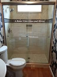 3 8 brushed nickel semi frameless sliding glass shower doors with overture 2 glass