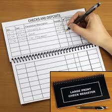 Large Print Check Register Spilsbury