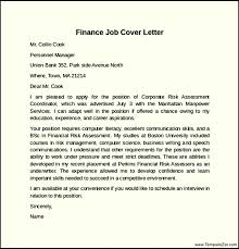 cover letter job finance