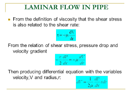 laminar flow in pipe from the definition of viscosity that the shear stress is also
