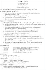 Sample Resume English Teacher Sample Resume Objective For Teacher