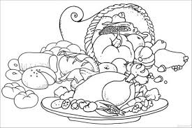 Small Picture Coloring Pages For Kids Thanksgiving Meal And Cornucopia