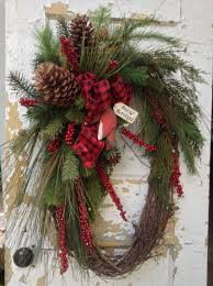 Large Christmas Wreath- Rustic Winter Wreath, Primitive Christmas Wreath,  Cardinal Wreath by FlowerPowerOhio