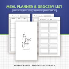 personal diet planner meal planner printable personal inserts menu planner grocery list