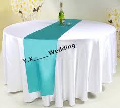 108 round diameter white satin table cloth with turquoise color satin table runner table cloth satin table cloth wedding table cloth with