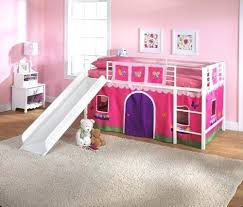 Girls Loft Bed With Slide Princess Tent Canopy Castle Twin Curtain ...
