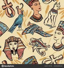 Starověký Egypt Vintage Vzor Bezešvé Staré školy Tetování Stock