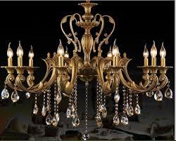 10 heads brass chandelier light fixture antique brass pendant vintage copper crystal lamp res lighting 100 guaranteed iron chandelier wine glass