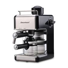 EXCELVAN MINI Stainless Steel Steam Espresso and Cappuccino Maker  4-Cup(800W 3.5bar)