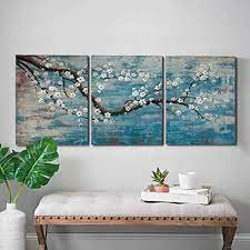 We have featured three ways to create wall decor with popsicle sticks. Amazon Com Amatop 3 Piece Wall Art Hand Painted Framed Flower Oil Painting On Canvas Gallery Wrapped Modern Floral Artwork For Living Room Bedroom Decor Teal Blue Lake Ready To Hang 12 X16 X3 Panel Paintings