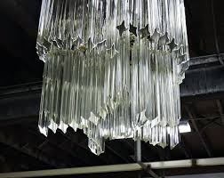 mid century modern glass prism chandelier for rectangular id f inch smoked glass crystal prism chandelier