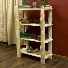 Log bookcase.