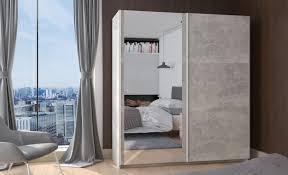 Kleiderschrank Schwebetürenschrank Schrank Schlafzimmer Beton 170 Cm