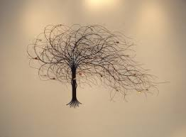 september tree metal wall art with shades on the wall
