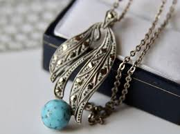 vintage silver chain and pendant with turquoise silver turquoise
