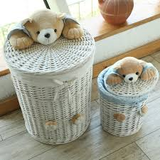 woven basket with lid. Woven Wicker Baskets Round Laundry Hamper Sorter Storage Basket With Bear Head Lid Small Large M