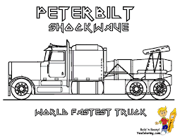 stone cold coloring trucks a peterbilt 386 semi truck coloring page