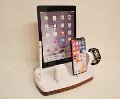We used black walnut and uhmw plastic. Charging Station Organizer For Iphone Ipad Apple Watch Airpods Etsy