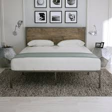 Westwood Design Stratton Convertible Crib Full Size Platform Metal Bed Frame With Retro Style Rivet Design Wood Headboard