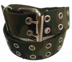 mens womens 2 holes silver grommet canvas belt