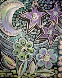 moon flowers acrylics on canvas starving artist studio
