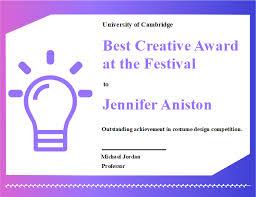 Achievement Awards Certificates Templates Creative Award Certificate Free Creative Award Certificate