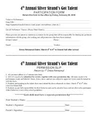 Permission Slip Forms Template Permission Slip Talent Release Form Template Forms Student