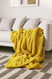 Bright Yellow Throw Blanket
