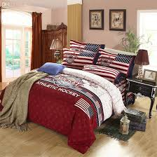 whole athletic hockey american flag soft warm cotton queen king size bedding set include 1 quilt cover 1 bed sheet 2 pillowcase comforter sets