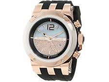 mulco wristwatches mulco unisex mw5 1621 023 bluemarine rose tone watch black silicone strap