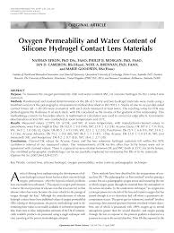 Contact Lens Dk Chart Pdf Oxygen Permeability And Water Content Of Silicone