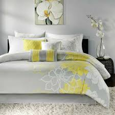 details about beautiful modern chic grey yellow white textured comforter set king queen new