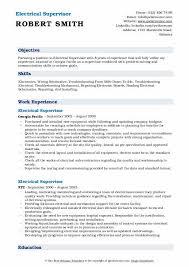 Electrical Supervisor Resume Samples Qwikresume