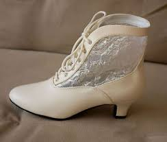 ivory steampunk victorian wedding granny lace up inlaid western Wedding Granny Boots image is loading ivory steampunk victorian wedding granny lace up inlaid granny boots for wedding