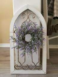 new cathedral window frame with wreath