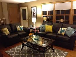 living room ideas leather furniture. brown leather sofa and colorful pillows funky living room decor ideas furniture e