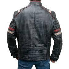 biker distressed leather jacket zoom retro