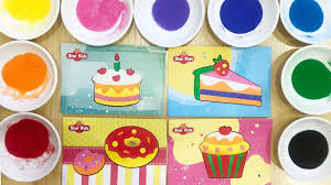 Tô màu tranh cát bánh ngọt, bánh cupcake, bánh donut, bánh sinh nhật -  Colored sand painting - YouTube