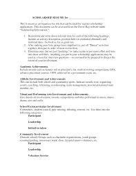 Scholarship Resume Template Jospar