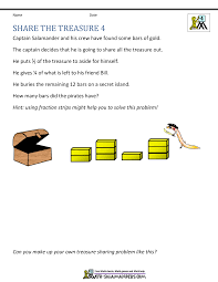 free math word problems share the treasure 4