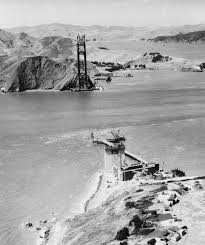 Image result for construction begins on the Golden Gate Bridge,