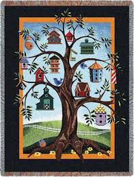 This delightful personalized Family Tree Blanket of a tree with a ... & Family Tree Quilt Birdhouse Family Tree by TheEmbroideryMaster Adamdwight.com