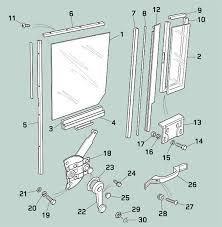 defender exterior doors and hinges middle door window channel glass and regulator